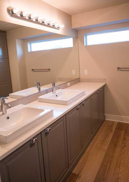 Skinny houses master vanity