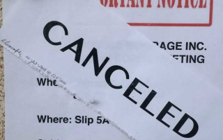 Houseboat Demolition Meeting Notice of Cancelation